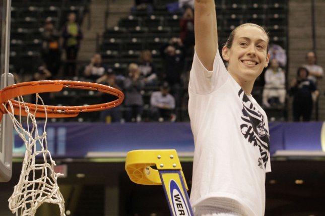 UConn Huskies' Breanna Stewart (30) celebrate after her team defeated the Syracuse University in the National Championship game of 2016 NCAA Division I Women's Basketball Championship at Bankers Life Fieldhouse in Indianapolis, Indiana, April 5, 2016. .Photo by John Sommers II/UPI