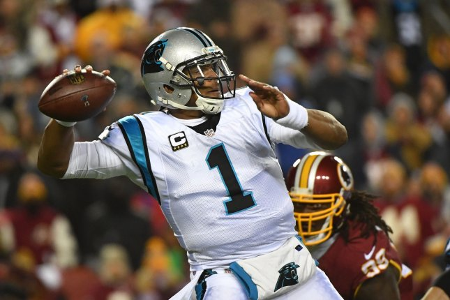 Carolina Panthers quarterback Cam Newton (1) passes against the Washington Redskins in the first quarter at FedEx Field in Landover, Maryland on December 19, 2016. File photo by Kevin Dietsch/UPI