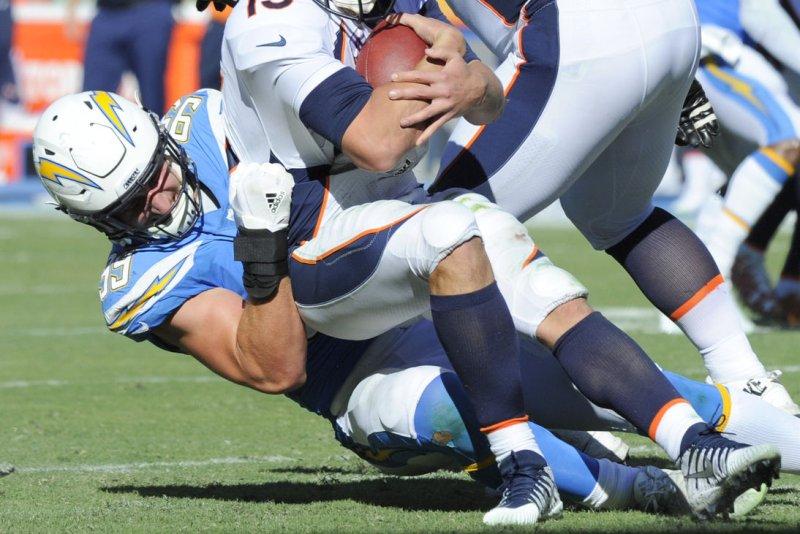 01edad5a7 Los Angeles Chargers defensive end Joey Bosa sacks Denver Broncos  quarterback Trevor Siemian in the second half on October 22