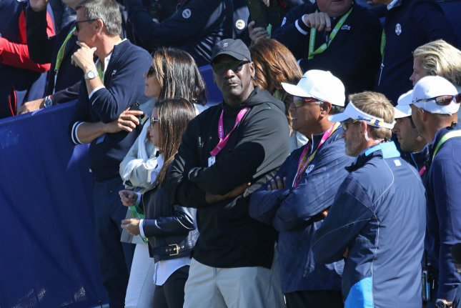 Basketball great Michael Jordan attends the final day of competition at the Ryder Cup on September 30 at Le Golf National in Guyancourt near Paris. Photo by David Silpa/UPI