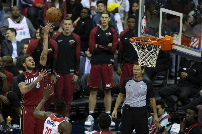 Miami Heat guard Tyler Johnson (8) was traded to the Phoenix Suns on Wednesday, the teams announced. File photo by Alex Edelman/UPI