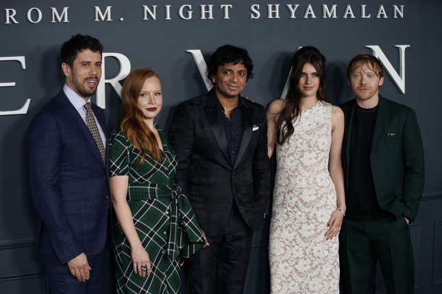 Toby Kebbell, Lauren Ambrose, M. Night Shyamalan, Nell Tiger Free and Rupert Grint arrive on the red carpet at the world premiere of Apple TV+'s Servant on November 19 in New York City. Photo by John Angelillo/UPI