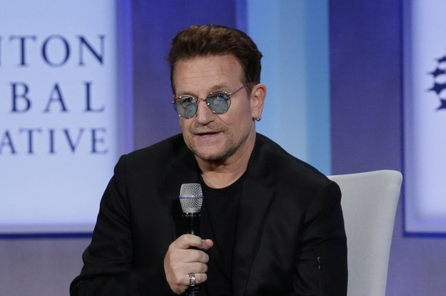 Bono speaks at the Clinton Global Initiative at the Sheraton Hotel in New York City on September 19. Bono was recently honored with Galmour's first Man of the Year Award. The award has traditionally been given to women to honor their influence and activism. File Photo by John Angelillo/UPI