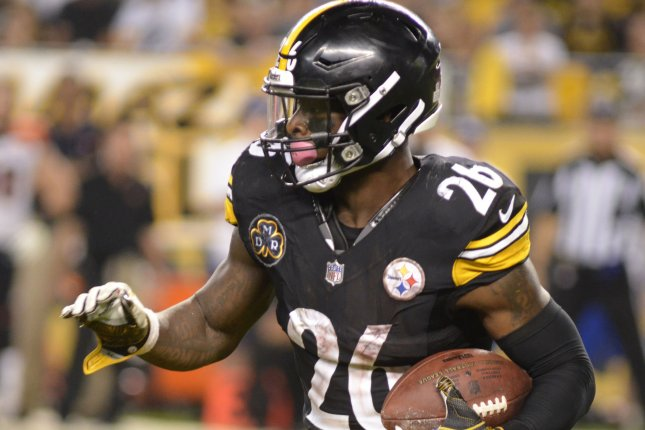 Pittsburgh Steelers running back Le'Veon Bell (26) runs for the sidelines during the fourth quarter of the the 29-14 win at Heinz Field in Pittsburgh on October 22, 2017. File photo by Archie Carpenter/UPI