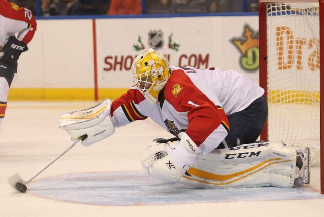 Roberto Luongo and the Florida Panthers face off with the Edmonton Oilers on Thursday. Photo by Bill Greenblatt/UPI