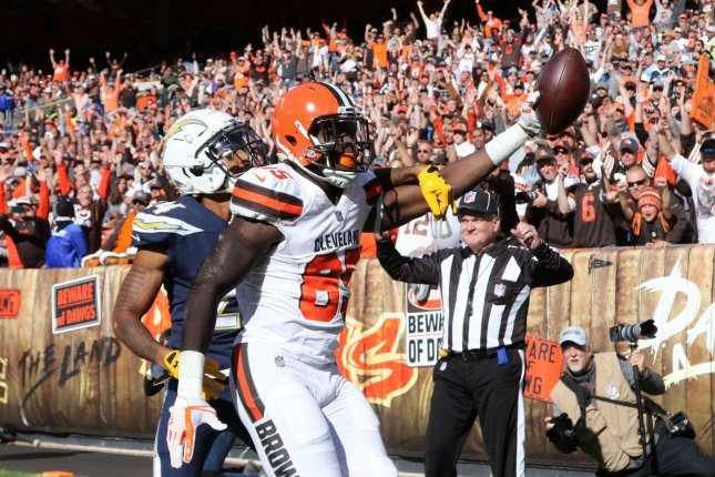 Cleveland Browns tight end David Njoku (R) was placed on injured reserve with a wrist injury. File Photo by Aaron Josefczyk/UPI