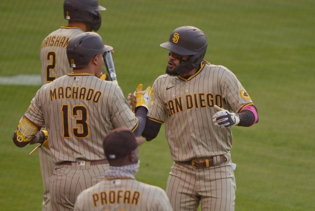 San Diego Padres shortstop Fernando Tatis Jr. (R) earned the starting spot at his position in the ASG over Javier Baez and Brandon Crawford. File Photo by Jim Ruymen/UPI