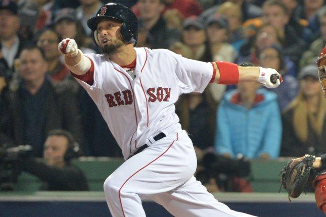 Boston Red Sox outfielder Shane Victorino. UPI/Kevin Dietsch
