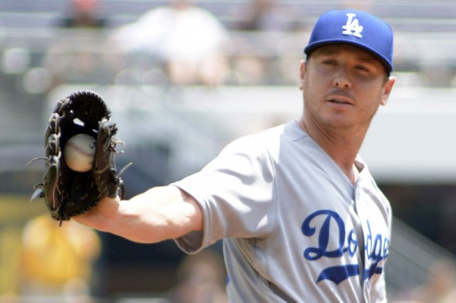 Los Angeles Dodgers starting pitcher Scott Kazmir (29) throws against the Pittsburgh Pirates at PNC Park on June 27, 2016 in Pittsburgh. The Dodgers starter gave up 4 runs to the Pirates to start the game in the first inning. Photo by Archie Carpenter/UPI