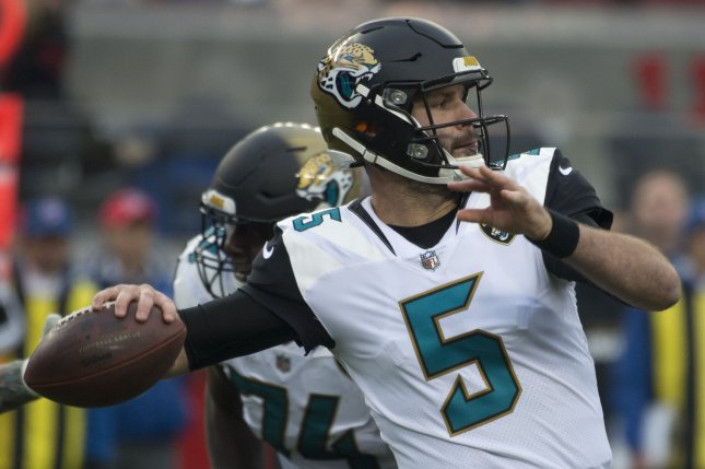 Jacksonville Jaguars quarterback Blake Bortles throws against the San Francisco 49ers in the first quarter at Levi's Stadium in Santa Clara, California, on December 24, 2017. File photo by Terry Schmitt/UPI