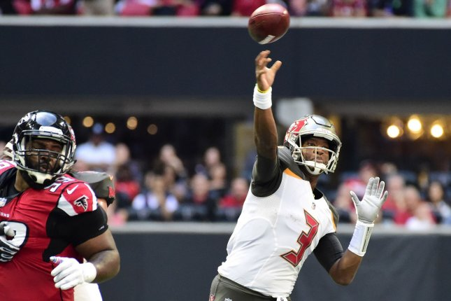 Tampa Bay Buccaneers quarterback Jameis Winston (3) throws during the first half on October 14, 2018 at Mercedes-Benz Stadium in Atlanta. Photo by David Tulis/UPI