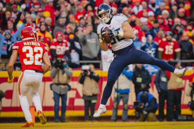Tennessee Titans tight end Anthony Firkser (R) led the team in postseason touchdown catches with two last season. File Photo by Kyle Rivas/UPI