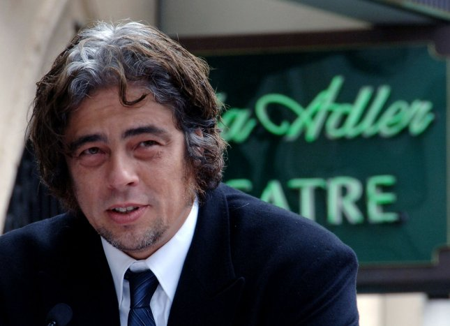 Actor Benicio Del Toro speaks during a posthumous ceremony honoring his late acting teacher Stella Adler with the 2,315th star on the Hollywood Walk of Fame in Los Angeles, California on August 4, 2006. Adler was creator of a unique American approach to acting and was the only American ever to have directly studied with the father of modern acting, Constantine Stanislavsky. In 1949, Adler founded a school now known as the Stella Adler Studio of Acting. Her student list reads like a who's who of Hollywood: Marlon Brandon, Robert De Niro, Harvey Keitel, Candice Bergen, Warren Beatty and Benicio Del Toro, Melanie Griffith, Salma Hayek among others. She died in 1992. (UPI Photo/Jim Ruymen)