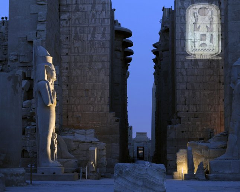 A statue of King Ramses II is illuminated inside the Karnak Temple in Luxor, Egypt. (File/UPI/Joe Marino)