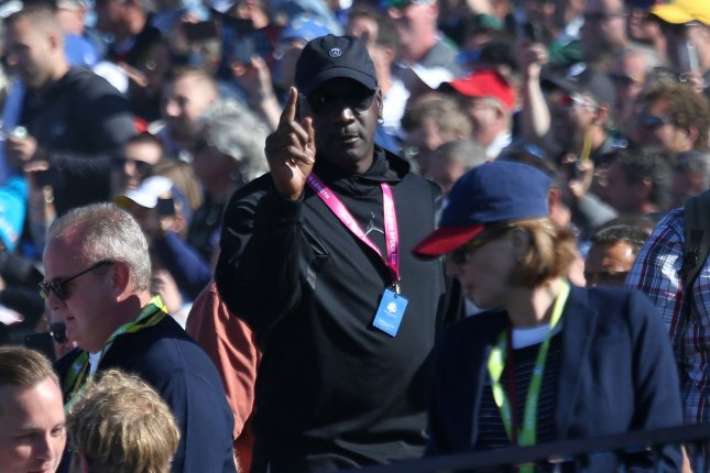 Basketball great Michael Jordan attended the 2018 Ryder Cup in September at Le Golf National in Guyancourt near Paris. Jordan is a longtime friend of Tiger Woods. File Photo by David Silpa/UPI