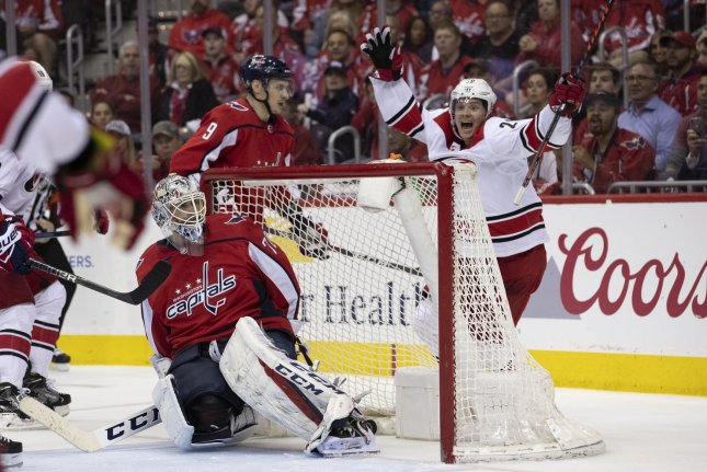 Carolina Hurricanes forward Sebastian Aho (R) scored a goal and had a plus-3 rating in Game 7 against the Washington Capitals on Wednesday night. File Photo by Alex Edelman/UPI