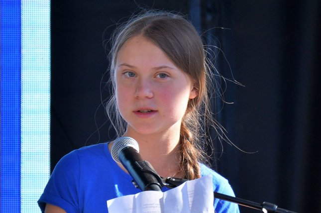 Swedish activist Greta Thunberg addresses a crowd at the Youth Climate Strike in Los Angeles on November 1. Photo by Jim Ruymen/UPI