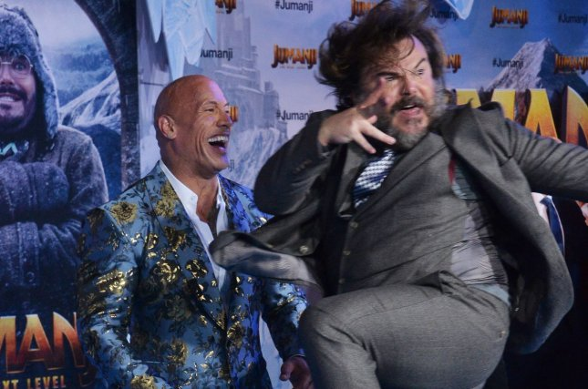 Cast members Dwayne Johnson and Jack Black attends the premiere of Jumanji: The Next Level in Los Angeles on Monday. Photo by Jim Ruymen/UPI