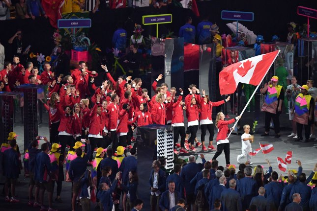 Canadian athletes enter the stadium during the Opening Ceremony of the 2016 Summer Olympic Games in Rio de Janeiro on August 5, 2016. File Photo by Kevin Dietsch/UPI