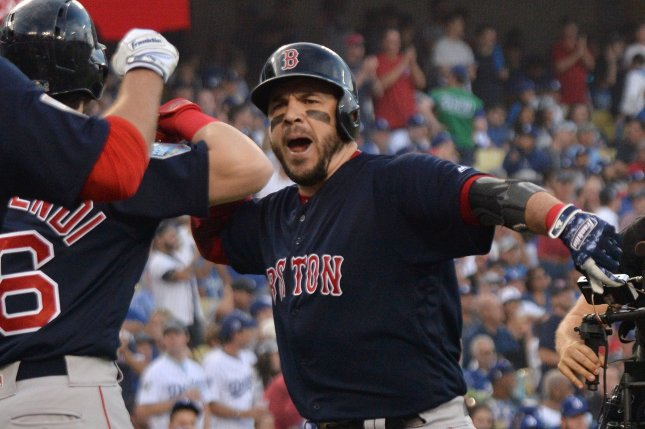 Boston Red Sox outfielder and first baseman Steve Pearce notched three home runs and eight RBIs in the Red Sox's five-game World Series win over the Los Angeles Dodgers in 2018. File Photo by Jim Ruymen/UPI