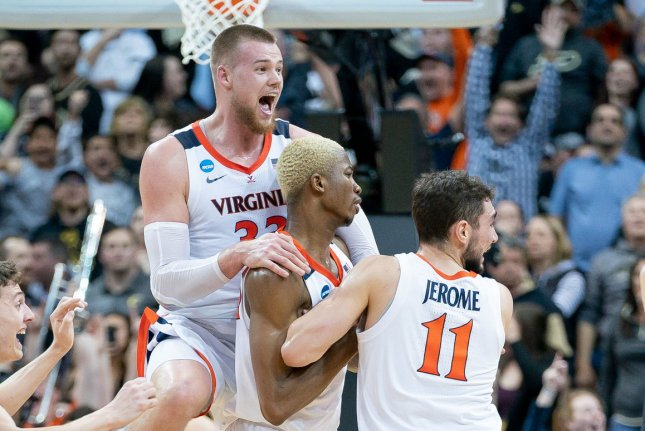 The Virginia Cavaliers, who won the 2019 NCAA Division I men's basketball tournament, begin their 2020-2021 campaign Wednesday. File Photo by Bryan Woolston/UPI