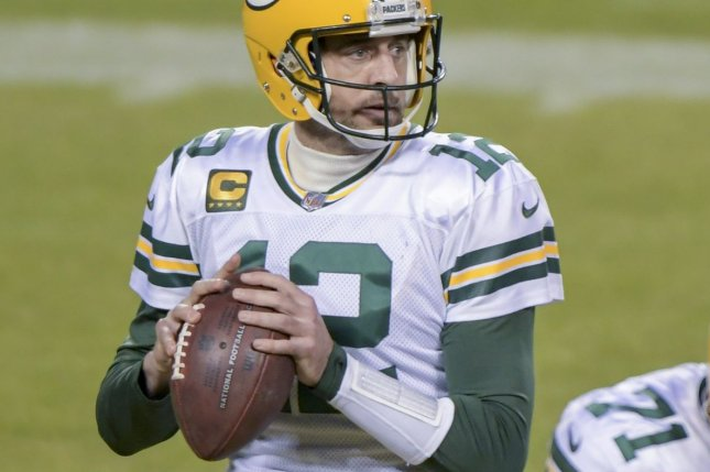 Green Bay Packers quarterback Aaron Rodgers was a holdout in minicamp for the first time in his 16-year NFL career Tuesday because of his rift with the franchise. File Photo by Mark Black/UPI