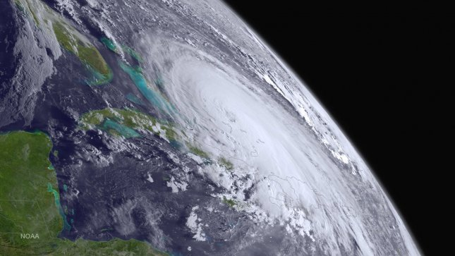 This NOAA image taken on October 1, 2015 shows Hurricane Joaquin as it travels in the Atlantic Ocean towards the United States. The category 3 storm winds have strengthened to 120 mph. Photo by NOAA/UPI