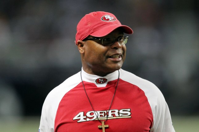 Former San Francisco 49ers head football coach Mike Singletary watches his team take on the St. Louis Rams in the second quarter at the Edward Jones Dome in St. Louis on December 26, 2010. St. Louis won the game 25-17. UPI/Bill Greenblatt