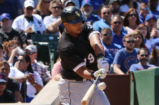 Chicago White Sox's Jose Abreu hits an RBI base hit. File photo by Aaron Josefczyk/UPI