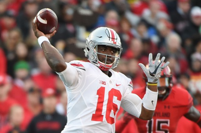 Ohio State Buckeyes quarterback J.T. Barrett (16) throws against Maryland Terrapins during their football game in College Park, Maryland, November 12, 2016. File photo by Molly Riley/UPI