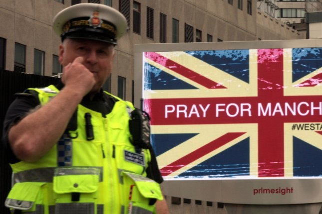 On May 22, 2017, a suicide bomber killed 22 people attending an Ariana Grande concert in Manchester, England. More than 500 people sustained injuries. File Photo by Mushtaq Mohammed/UPI