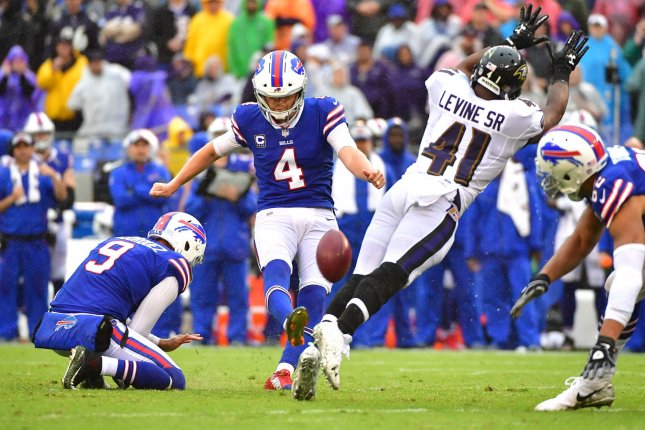 Buffalo Bills kicker Stephen Hauschka kicks a 35-yard field goal against the Baltimore Ravens in the third quarter on September 9, 2018 at M&T Bank Stadium in Baltimore, Maryland. Photo by Kevin Dietsch/UPI