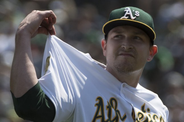 Oakland Athletics starting pitcher Trevor Cahill (53) pulls on his jersey after striking out New York Yankees' Miguiel Andujar in the first inning on September 3 at the Coliseum in Oakland. Photo by Terry Schmitt/UPI