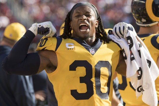 Los Angeles Rams running back Todd Gurley led the NFL with 17 rushing touchdowns in 2018. File Photo by Terry Schmitt/UPI