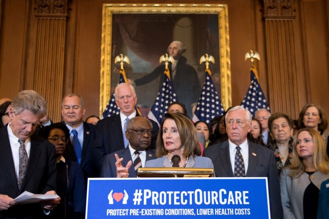A report said Tuesday repeal of three Affordable Care Act taxes costs $373.3 billion over 10 years. House Speaker Nancy Pelosi is seen speaking at an ACA press conference on its protections for pre-existing conditions earlier this year. File Photo by Kevin Dietsch/UPI