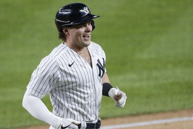 New York Yankees slugger Luke Voit went 1 for 4 with a home run in a playoff win over the Tampa Bay Rays on Thursday in San Diego. File Photo by John Angelillo/UPI