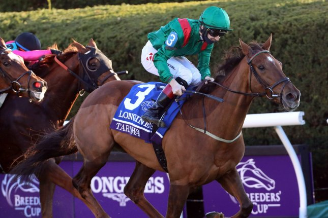 Jockey Colin Keane, riding Tarnawa, wins the Breeders Cup Turf at Keeneland in Lexington, Ky., on Saturday. Photo by John Sommers II/UPI