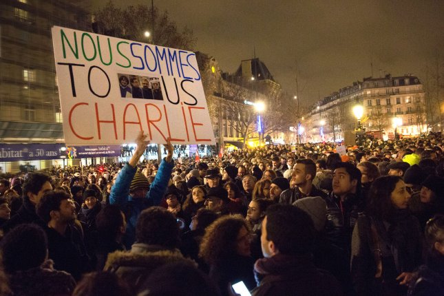 French people rally at one of Paris' main squares in a display of solidarity after the terrorist attack at Charlie Hebdo weekly newspaper in Paris on January 7, 2015. File Photo by Eco Clement/UPI