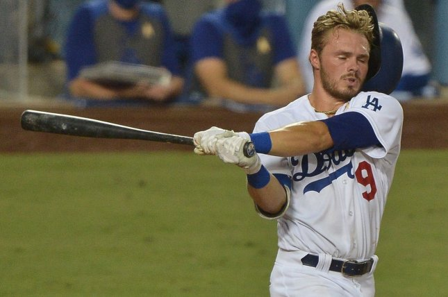 Los Angeles Dodgers second baseman Gavin Lux went 2 for 3 with an RBI in a win over the Colorado Rockies on Monday in Glendale, Ariz. File Photo by Jim Ruymen/UPI
