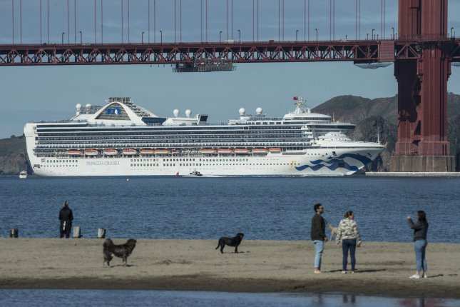A cruise ship sails under the Golden Gate Bridge in San Francisco, Calif., on March 9, 2020. Celebrity Cruises is poised to be the first cruise liner to set sail from the United States since the start of the coronavirus pandemic more than a year ago. File Photo by Terry Schmitt/UPI