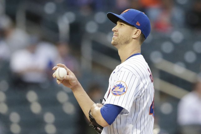 New York Mets starting pitcher Jacob deGrom, shown April 28, 2021, experienced additional inflammation in his right arm after throwing a bullpen session Thursday. File Photo by John Angelillo/UPI