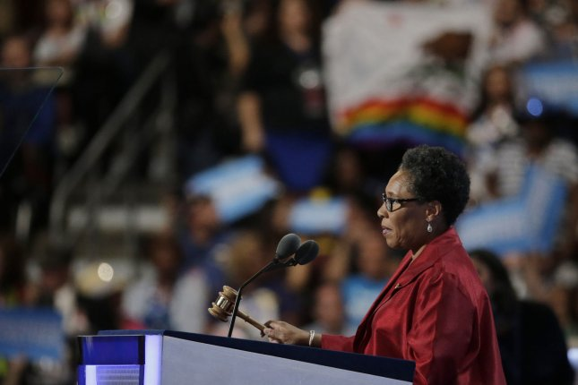 U.S. Rep. Marcia Fudge, the chair of the 2016 Democratic National Convention, speaks at the podium at the outset of Day Three of the gathering. A planned speech to nominate Tim Kaine for vice president was cancelled aid fears restive liberals would boo his selection. Photo by Ray Stubblebine/UPI