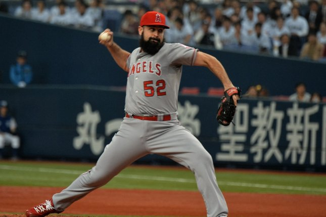 Matt Shoemaker of the Los Angeles Angels throws a pitch in the first inning. File photo by Keizo Mori/UPI