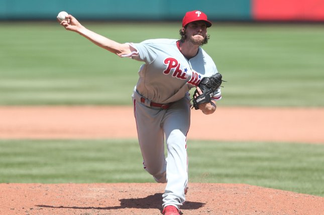 Philadelphia Phillies starting pitcher Aaron Nola delivers a pitch to the St. Louis Cardinals in the fourth inning on May 20 at Busch Stadium in St. Louis. Photo by Bill Greenblatt/UPI