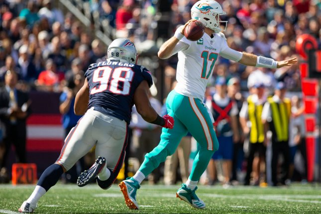 Miami Dolphins quarterback Ryan Tannehill gets ready to pass during a game against the New England Patriots at Gillette Stadium in Foxborough, Massachusetts on September 30, 2018. Photo by Matthew Healey/UPI