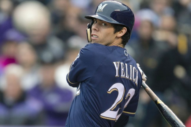 Milwaukee Brewers right fielder Christian Yelich is hitting .500 and has four home runs through four games to begin the 2019 season. File Photo by Gary C. Caskey/UPI