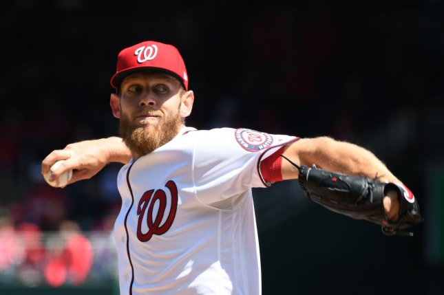 Washington Nationals starting pitcher Stephen Strasburg struck out 14 Marlins hitters Wednesday night. File Photo by Pat Benic/UPI