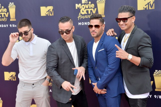 Mike The Situation Sorrentino (second from left), pictured with Vinny Guadagnino, Ronnie Ortiz-Magro and Paul Pauly D DelVecchio (left to right), was freed from prison Thursday after serving eight months for tax evasion. File Photo by Jim Ruymen/UPI