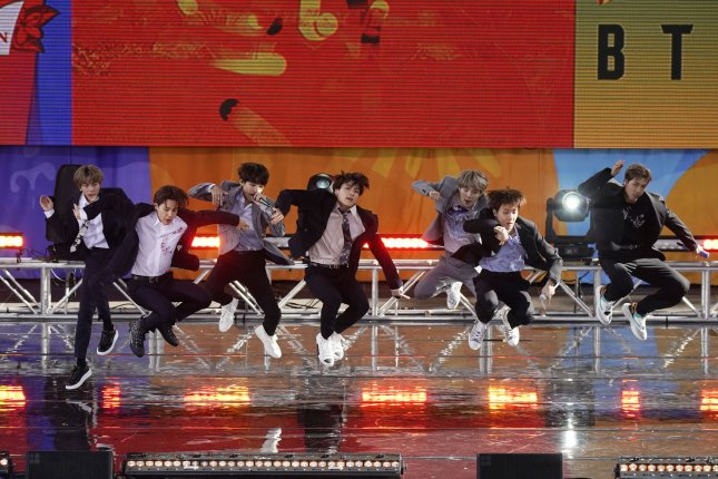 BTS perform on Good Morning America at Rumsey Playfield/SummerStage in Central Park in New York City on May 15. File Photo by John Angelillo/UPI