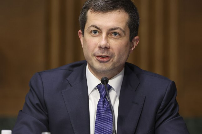 Transportation Secretary Pete Buttigieg testifies before a Senate Appropriations Committee hearing to examine the American Jobs Plan at the U.S. Capitol in Washington D.C., on Tuesday. Pool photo by Oliver Contreras/UPI